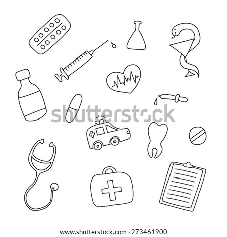 Set of hand-drawn medical doodles