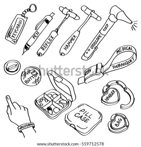Set Of Hand Drawn Medical Supplies Doodles Isolated On A White Vector Illustrations Reflex