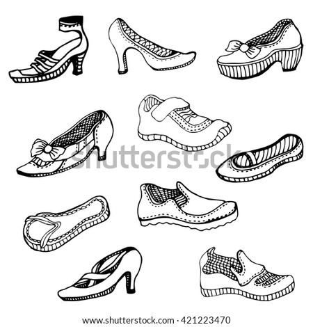 Set of hand drawn men and women shoes. Summer fashion collection. Black and white.