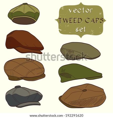 Set of hand drawn men's tweed caps. Fashionable cartoon hats. - stock vector