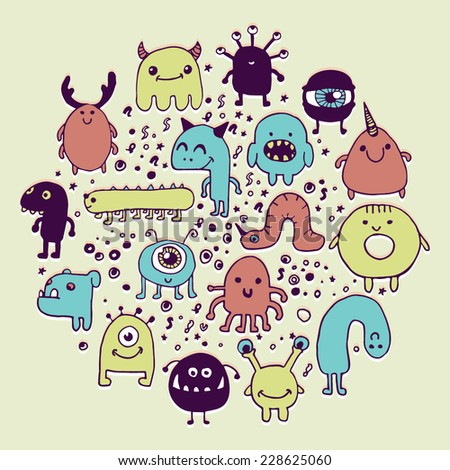 set of hand drawn monster doodles, colorful background or card design - stock vector