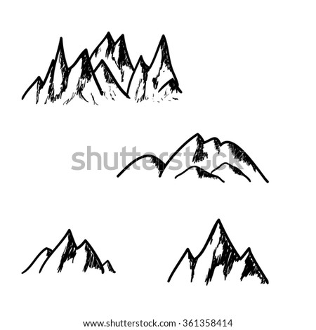 Set of hand drawn mountains isolated on white background, vector illustration - stock vector