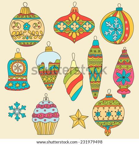 Set of hand drawn multicolored Christmas tree balls - stock vector