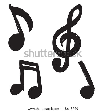 Set of Hand-drawn music notes - stock vector