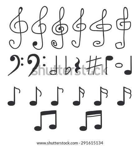 Set of hand drawn music notes. Vector illustration - stock vector