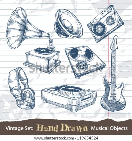 Set of hand drawn musical objects. Layered. Vector EPS 10 illustration. - stock vector