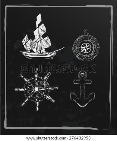 Set of hand drawn nautical elements-Vintage chalkboard