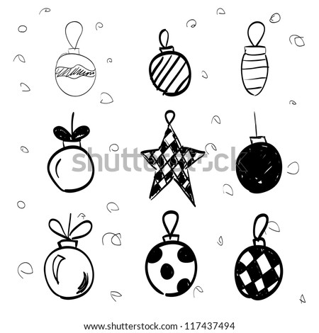 Set of Hand-drawn new year balls - stock vector