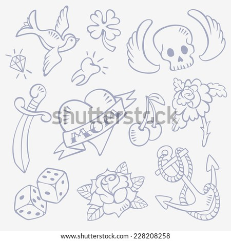 Set of Hand Drawn Old-School Style Retro Tattoo Sketches - Swallow, Diamond, Skull with Wings, Lucky Clover, Heart, Dagger, Tooth, Rose Flower, Dice, Cherry, Anchor.  Isolated on background - stock vector