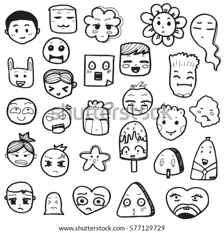 Set Hand Drawn Outline Doodle Emoticons Stock Vector 577129729 - Shutterstock