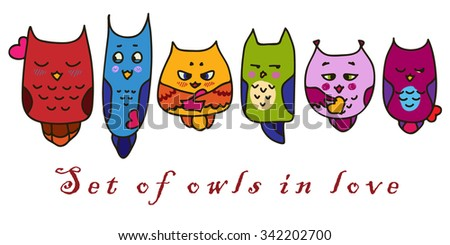 Set of hand-drawn owls in love. Color Owls for St. Valentine's Day. Valentines Day card. - stock vector