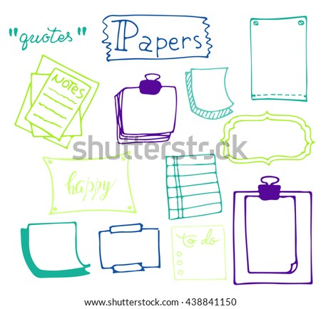 Set of hand drawn paper notes in vector. Isolated doodle notepaper for messages.Collection of colorful elements in doodle style. Isolated.Color outlines. Office supplies. - stock vector