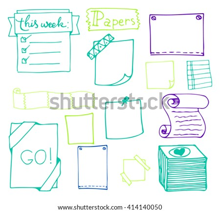 Set of hand drawn paper notes in vector. Set  of hand drawn isolated doodle notepaper for messages.Collection of colorful elements in doodle style. Isolated.Color outlines. Office supplies - stock vector