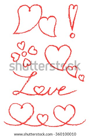 Set of hand drawn pastel chalk crayon symbols with heart shape. Funny red line copyspaces. Vector decorative design elements. Happy valentine day background.  - stock vector