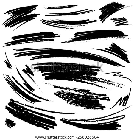 Set of hand-drawn pencil strokes. Vector illustration - stock vector