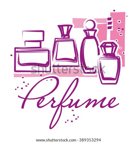 Set of hand drawn perfume bottles. Sketch. Perfume for woman. Beauty glass bottles. Elegant vector illustration - stock vector