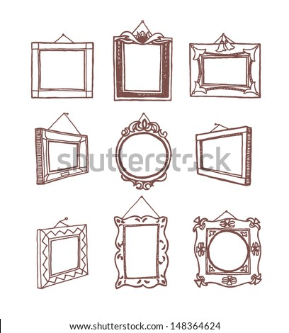 Set of hand drawn picture frames fixed on wall with nail. Rectangular, square and round shape. Brown drawing line. Isolated in white background. - stock vector