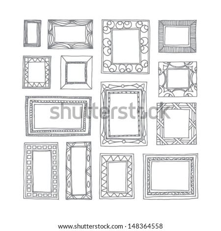 Set of hand drawn picture frames. Square and rectangular shape. Black and white. Isolated on white background. - stock vector