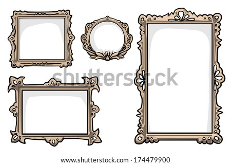 set of 4 hand drawn Picture frames, vector illustration - stock vector