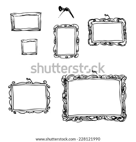 Set of hand drawn picture frames. Vector illustration. - stock vector