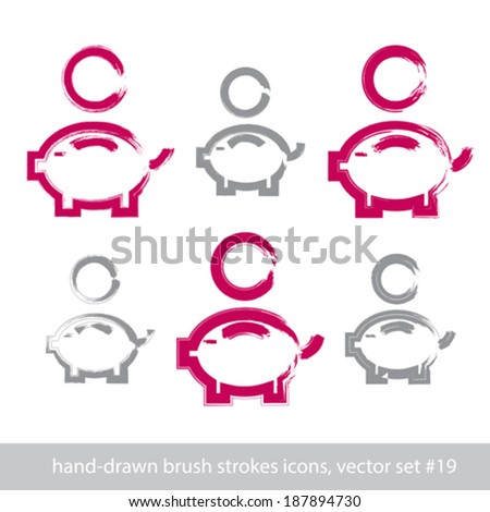 Set of hand-drawn pink piggybank icons, stroke brush drawing coin bank signs, hand-painted simple piggy isolated on white background. - stock vector