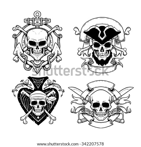 Set of hand drawn pirate emblems with skull. Logos skulls in vintage style - stock vector