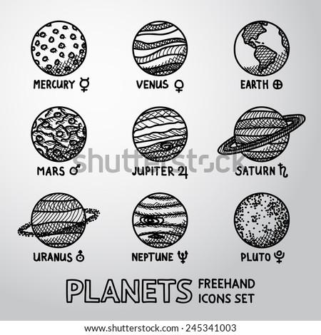 Set Hand Drawn Planet Icons Names Stock Vector Hd Royalty Free