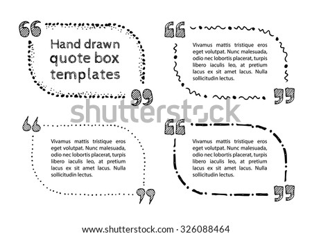 Set of hand drawn quote boxes with text isolated on white background. Quote box with rounded corners Doodle style Quote, commas, message, quote blank, template. Editable vector. Quote bubble - stock vector