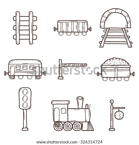 Set of hand drawn railroad icons: wagons, semaphore, railway station clock, locomotive, barrier, tunnel. Transport shipping delivery or travel concept - stock vector