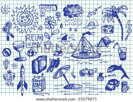 set of hand drawn relax images - stock vector