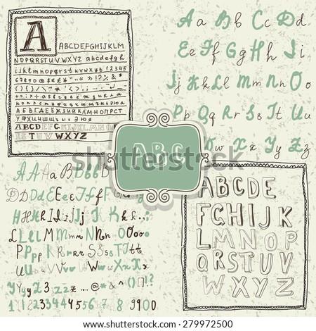 set of hand drawn retro alphabets - stock vector
