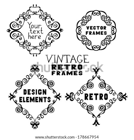 Set of hand-drawn rhombus frames in various styles. Vintage design elements - stock vector