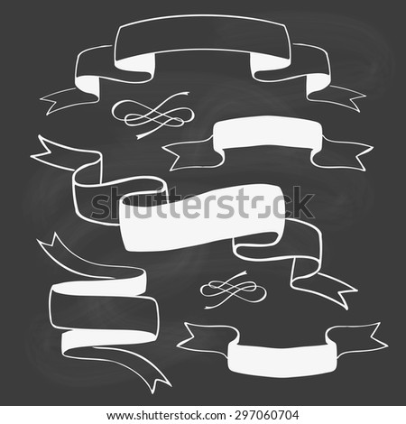 Set of hand drawn ribbon banners on blackboard. Vector illustration. - stock vector