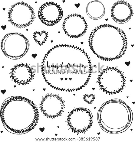 set of hand drawn round frames ink illustration herbal frames wreaths hand - Wreath Frames