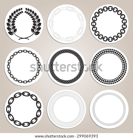 set of hand drawn round nautical frames vector illustration - Nautical Frames