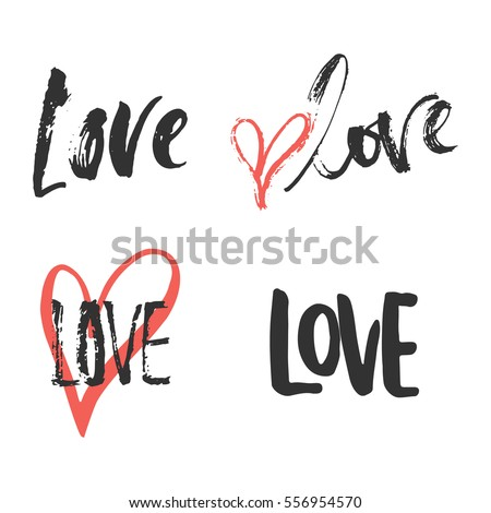 Set Of Hand Drawn Saint Valentines Day Lettering Phrases About Love. Photo  Overlays Signs.