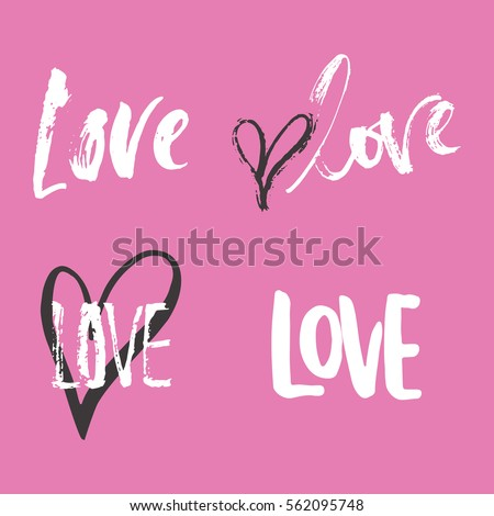 Set of hand drawn Saint Valentines Day lettering phrases about love. Photo overlays signs. Wedding photo album and greeting cards calligraphy.