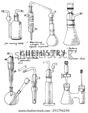 Set of hand drawn science chemical glass equipment, Chemistry education research laboratory tool, chemical funnel, flask, adapters, condenser, Vector illustration.