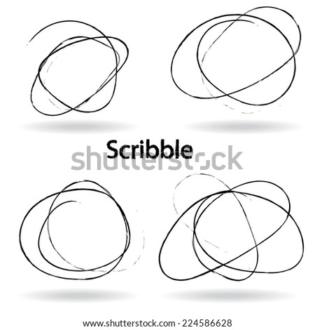 Set of Hand Drawn Scribble Circles, vector design elements - stock vector