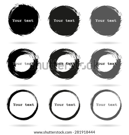 Set of 9 Hand Drawn Scribble Circles, vector elements design  - stock vector