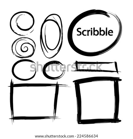 Set of Hand Drawn Scribble Shapes - stock vector