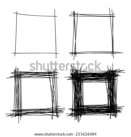 Set of Hand Drawn Scribble Squares, vector design elements  - stock vector