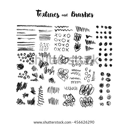 Set of hand drawn scribble textures Collection of brush strokes, abstract elements, ink stains Vector set of  background texture, points, lines, strokes - stock vector