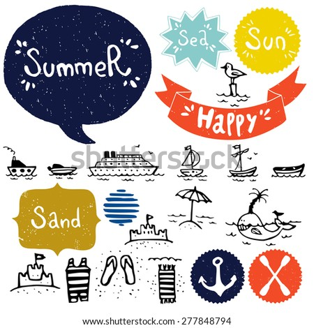Set of hand drawn sea and summer vacation doodles. Cartoon icons isolated on white background and Summer lettering in speech bubbles. - stock vector
