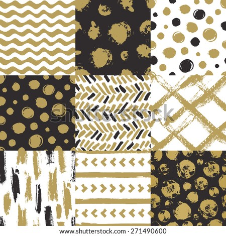 Set of 9 hand drawn seamless patterns. Isolated on white and black backgrounds. Vector trendy  patterns for your design - stock vector