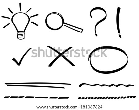 Set of hand drawn simple icons. - stock vector