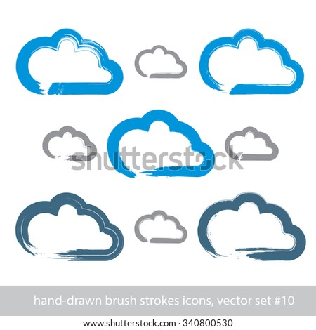 Set of hand-drawn simple stroke vector cloud icons, collection of brush drawing meteorology signs, hand-painted weather forecast symbols isolated on white background.