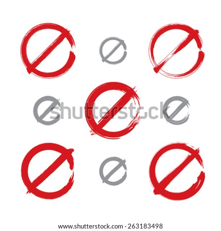 Set of hand-drawn simple vector prohibition icons, collection of brush drawing red realistic ban symbols, hand-painted prohibition sign isolated on white background. - stock vector