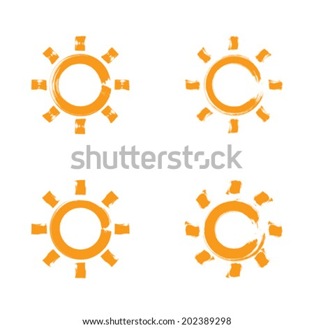 Set of hand-drawn simple vector sun icons, collection of brush drawing meteorology signs, original hand-painted weather forecast symbols isolated on white background. - stock vector
