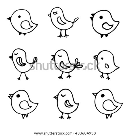 set of 9 hand drawn sketch cartoon birds